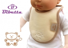 BIBETTA Plush Newborn Baby Bib, Cream