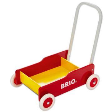 BRIO Puinen Kävelyvaunu, puna-keltainen